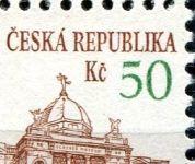 """(1993) č. 19 ** - sp - ČR - DV 71/2 - slabá svislice čísla """"5"""" 50 Kč - detail"""