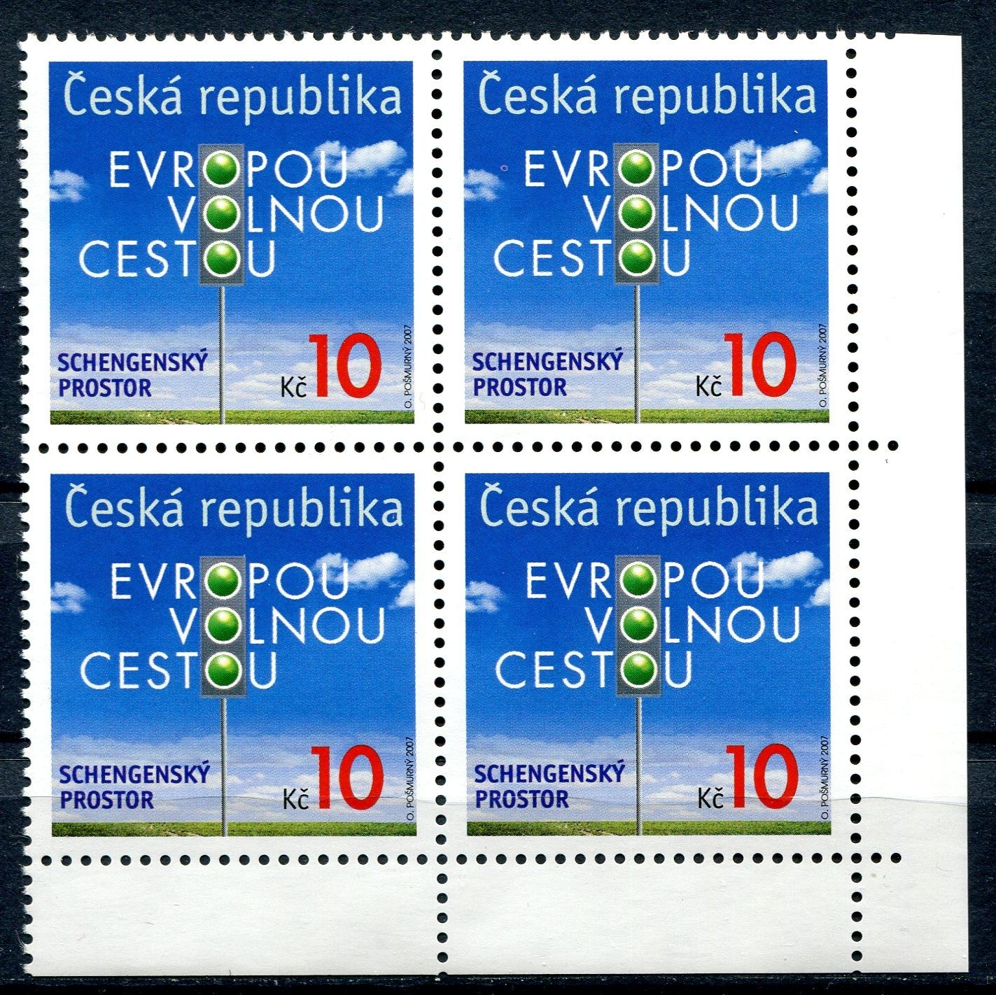 (2007) č. 538 ** - 4-bl - ČR - VV 30/L - růžový kroužek vedle E