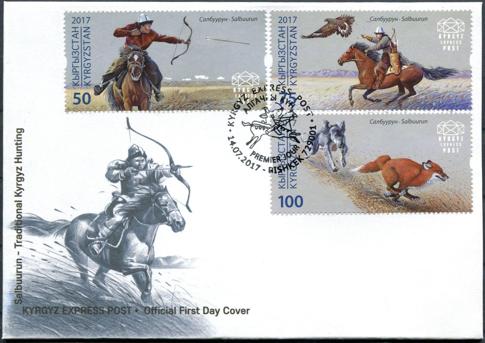 (2017) MiNr. 69 - 71 - FDC  - Kyrgyzstán - Tradiční lov