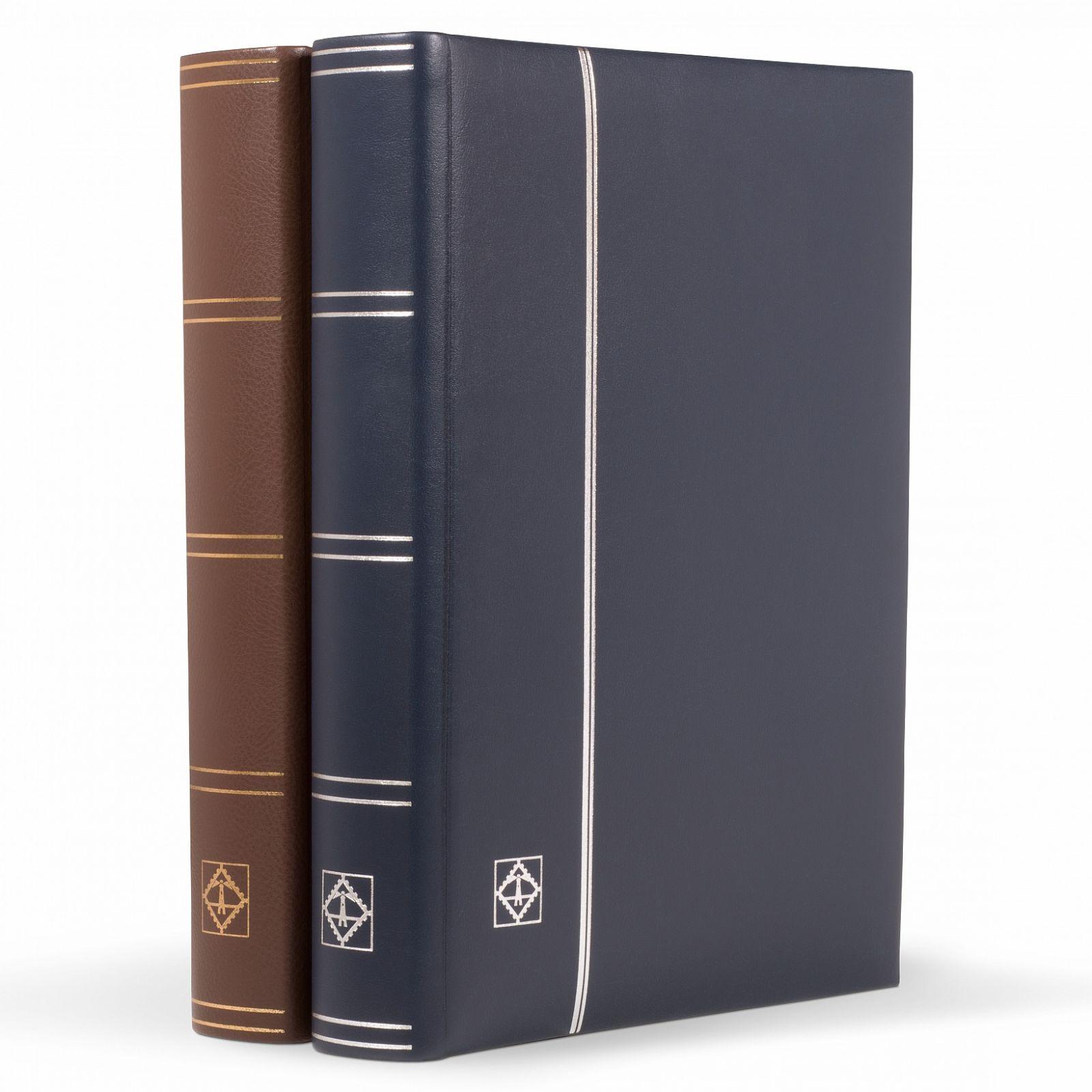 Leuchtturm - lux. zásobník na známky LEDER, 64 str., černé listy, desky pravá kůže