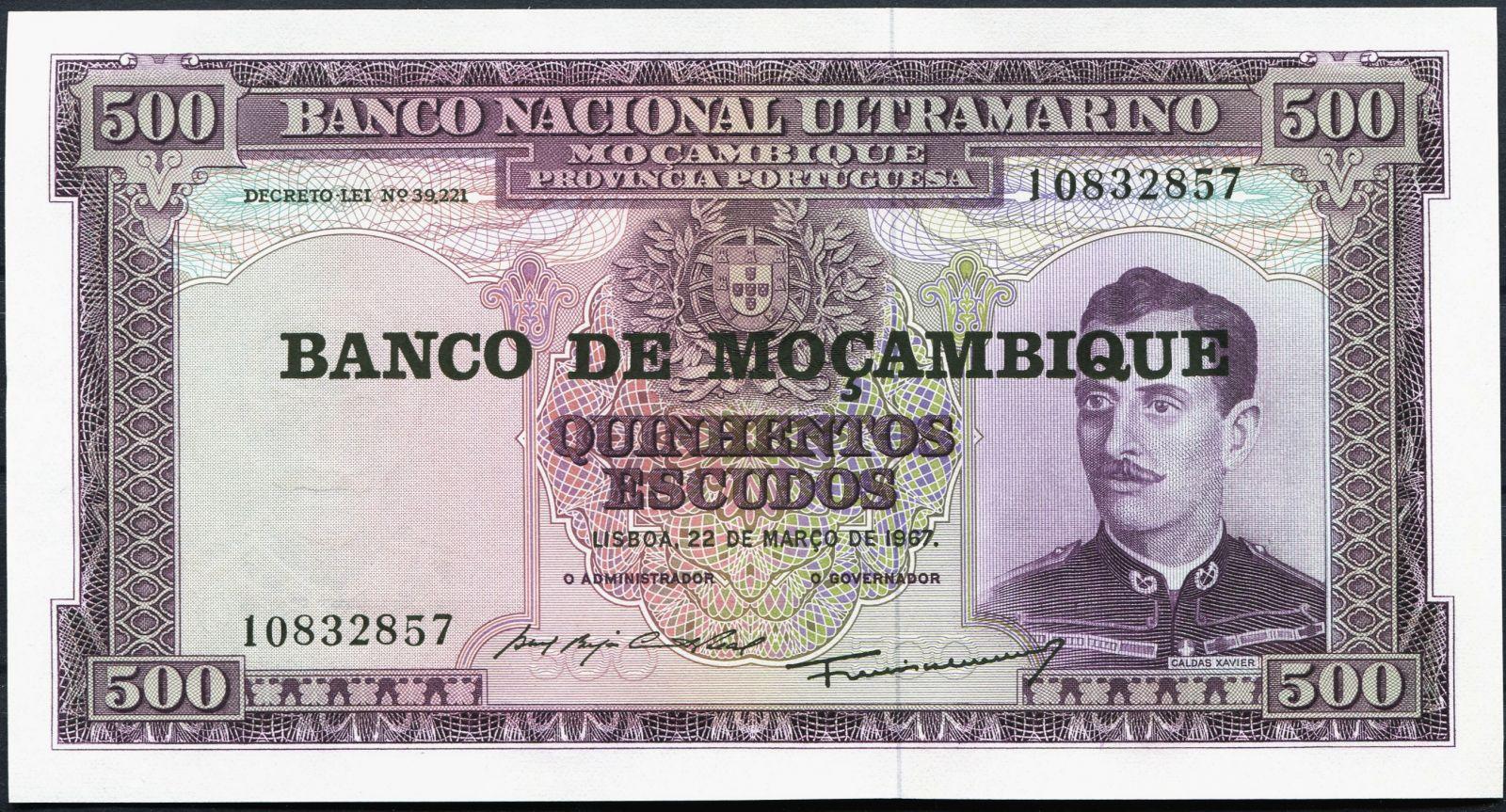 MOZAMBIQUE 500 ESCUDOS 1967 P-118 1976 UNC