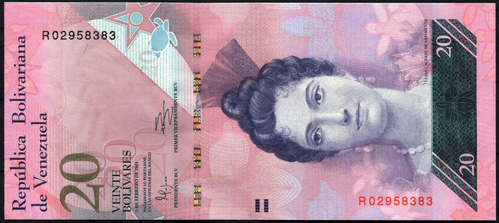 Venezuela (P 91e) - 20 bolivares (3.2.2011) - UNC