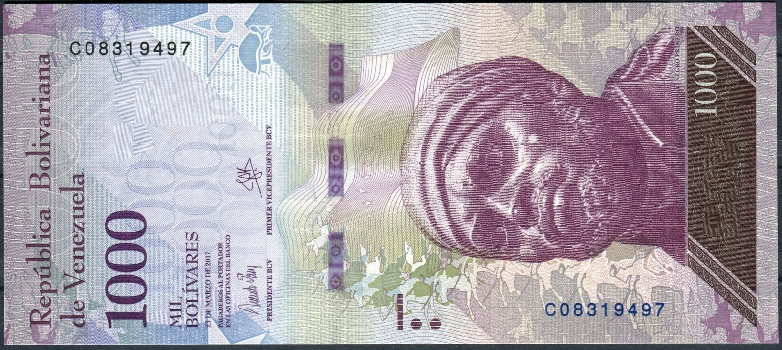 Venezuela (P 95b) - 1000 bolivares (23.3.2017) - UNC