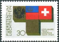 (1969) MiNr. 517 ** - Lichtenštejnsko - 100 let telegrafie v Lichtenštejnsku