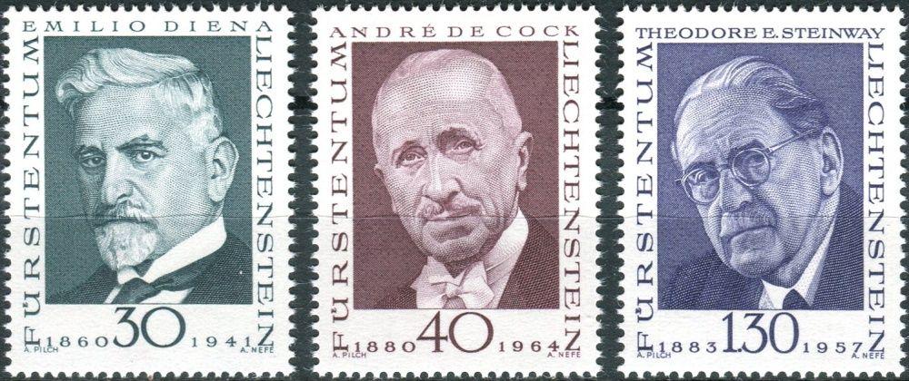 (1972) MiNr. 570 - 572 ** - Lichtenštejnsko - Průkopníci filatelie (III)