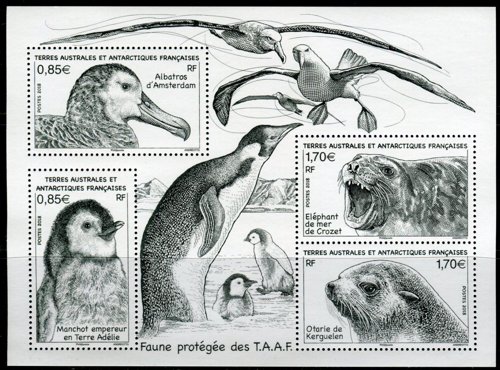 (2018) MiNr. 1007 - 1010 ** - Francouzská Antarktida - BLOCK 60 - Chráněné zvíře