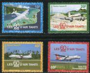 """(2018) MiNr. 1370 - 1373 ** - Fr. Polynesie - 60 let letecké společnosti """"Air Tahiti"""": osobní letadl"""