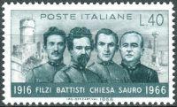 (1966) MiNr. 1218 ** - Itálie - 50. výročí úmrtí Cesara Battistiho, Damiano Chiesa, Fabio Filzi a Na