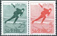 (1966) MiNr. 546 - 547 **- Do - Švédsko - 2-bl - Mistrovství světa mužů v rychlobruslení