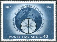 (1967) MiNr. 1220 ** - Itálie - 100 let geografická společnost