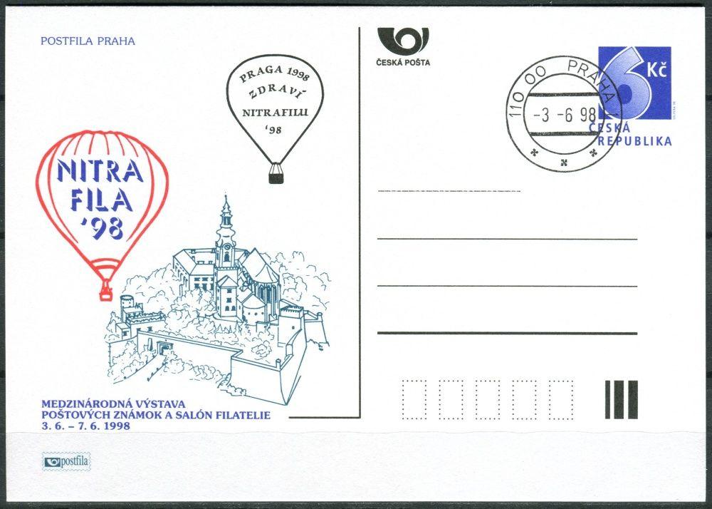 (1998) CDV 32 O - P 33 - Nitrafila 98 - mezinárodní výstava poštovních známek - razítko + kašet