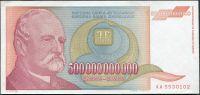 Jugoslávie - (P137) 500 mld. DINARA (1993) - UNC