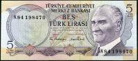 Turecko - (P185) 5 Lir (1970) - UNC