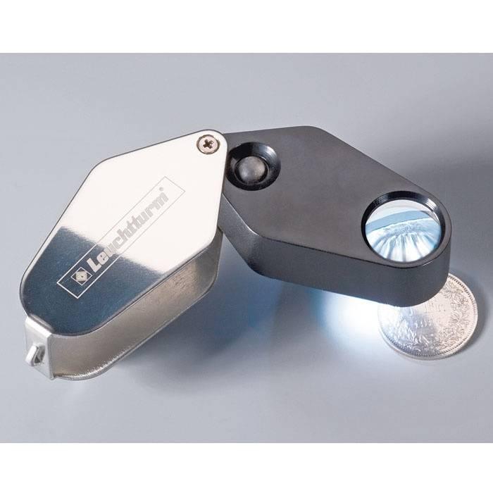 Precizní skládací kapesní lupa - 10x s LED Leuchtturm