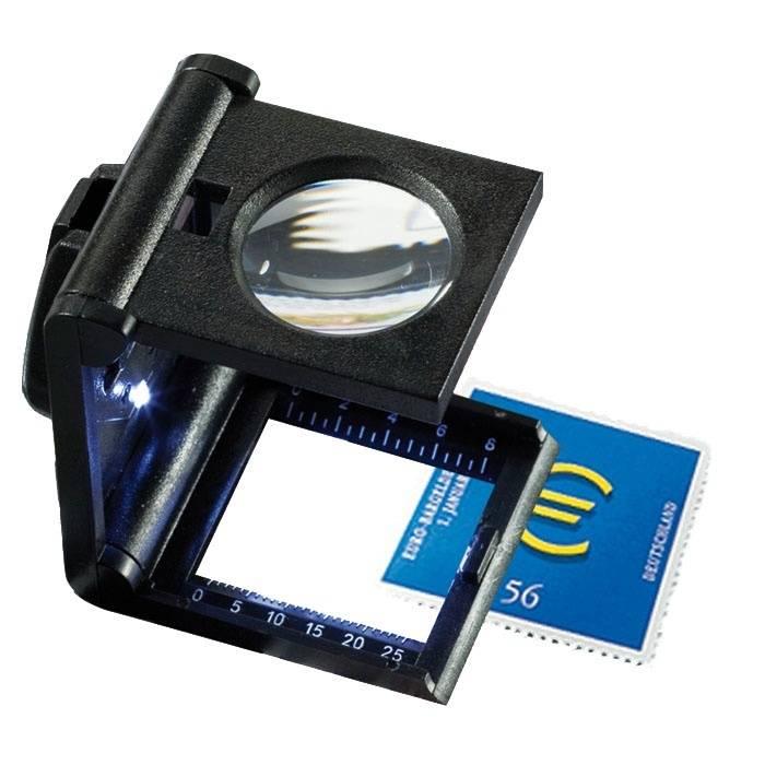 Skládací lupa 5x LED s měřítkem