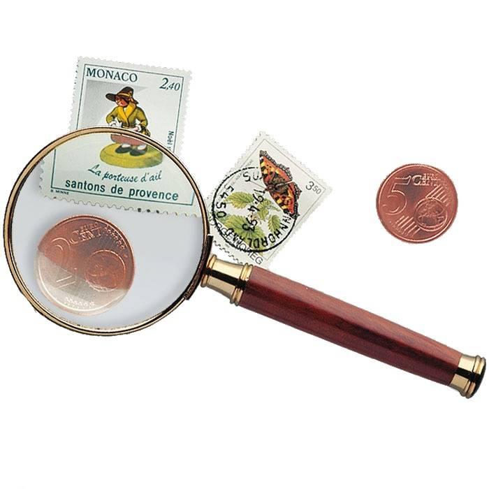 Kovová lupa 3x se skleněnou čočkou a dřevěnou rukojetí