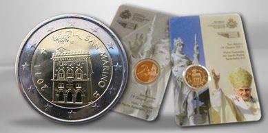 (2011) - 2 € - San Marino - Svatý otec Benedikt XVI. pastorační návštěva San Marina (UNC)