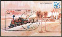 (1986) MiNr. 3023 - Block 95 - O - Kuba - Speciální výstava EXPO '86, Vancouver: Lokomotivy