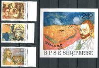 (1990) MiNr. 2441 - 2443 + BLOCK 92 ** - Albánie - 100. výročí úmrtí Vincenta van Gogha