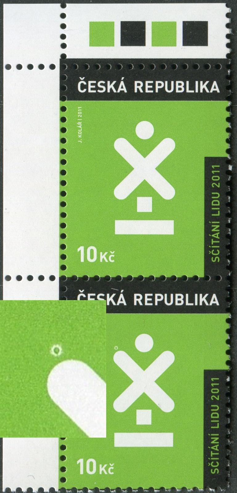 """(2011) 666 **  ČR - Sčítání lidu - VV 11/1 - kroužek nad """"X"""""""