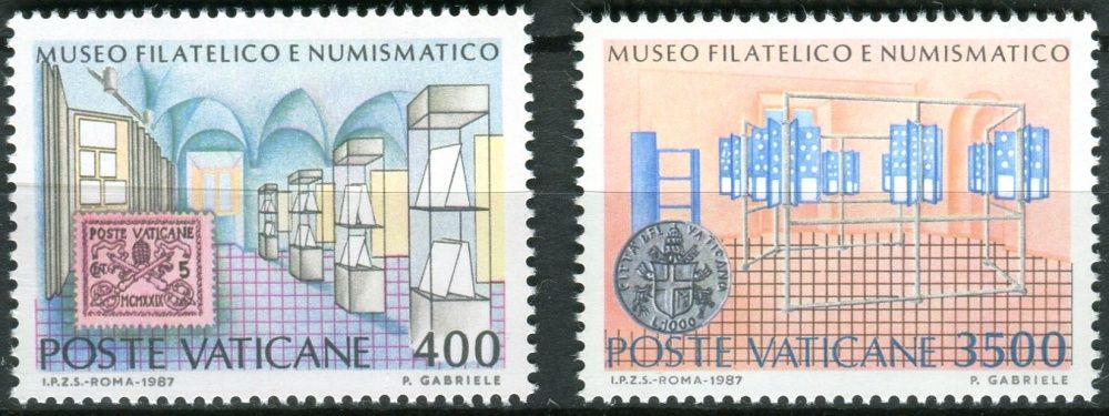 (1987) MiNr. 924 - 925 ** - Vatikán - Slavnostní otevření filatelistického a numizmatického muzea ve Vatikánu