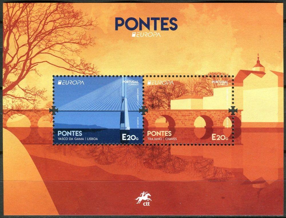 (2018) MiNr. 4384 ** - Portugalsko - BLOCK 430 - Europa: Ponte Vasco da Gama, Lisabon; Ponte Romana, Chaves