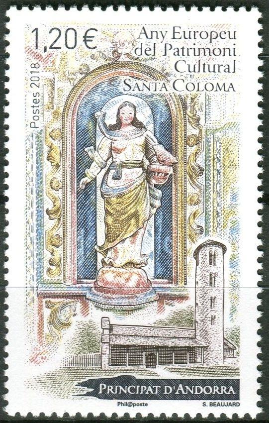 (2018) MiNr. 838 ** - Andorra (Fr.) - Evropský rok kulturního dědictví