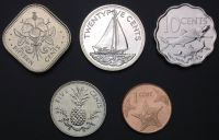 Bahamas set of 5 coins (1992-2009) UNC