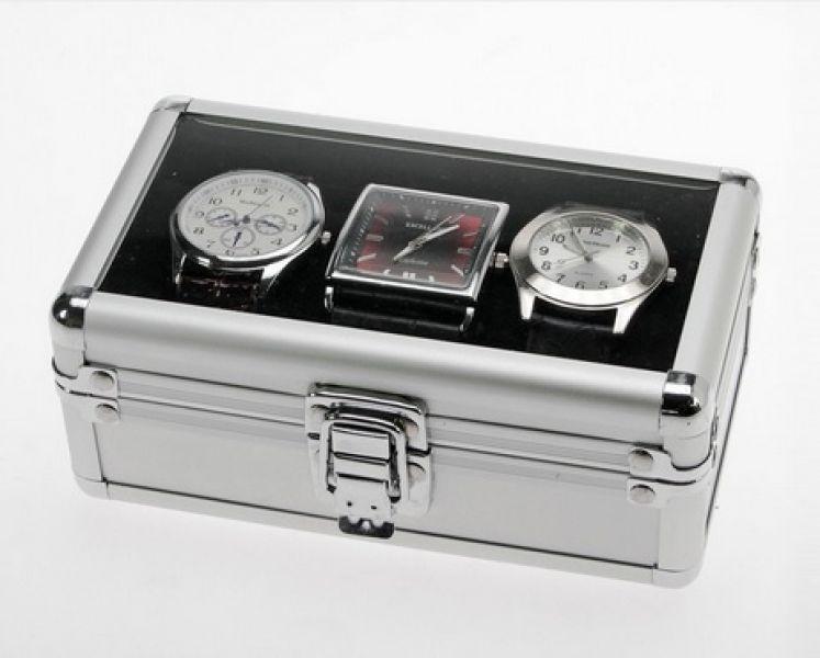 Safe hliníkový kufřík na 3 ks nár. hodinek