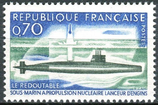 """(1969) MiNr. 1686 ** - Francie - Jaderná ponorka """"Redoutable"""""""