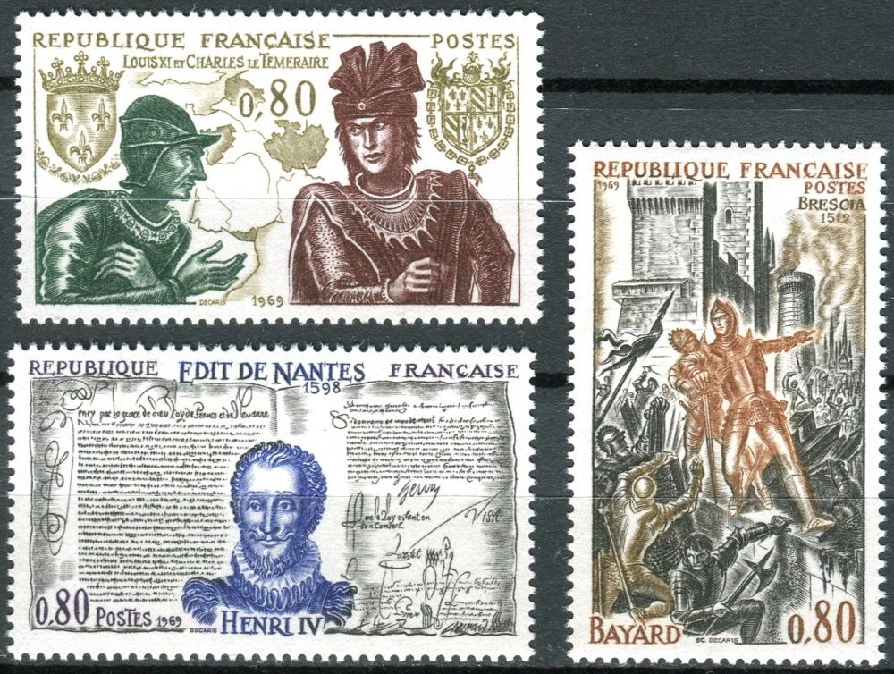 (1969) MiNr. 1688 - 1690 ** - Francie - Velké jména z francouzské historie (IV) - král Ludvík XI. a Charles Bold z Burgundska; Chevalier Bayard; Král Jindřich IV.
