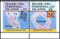 (1985) MiNr. 40 + 41 D ** - Marshallovy ostrovy - SP - Ostrovní mapy