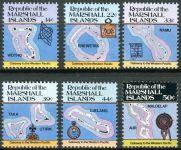 (1985) MiNr. 40 - 45 A ** - Marshallovy ostrovy - Ostrovní mapy