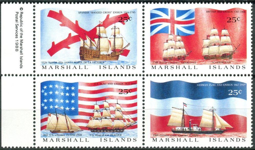 (1988) MiNr. 185 - 188 ** - Marshallovy ostrovy - 4-bl - Lodě a staré vlajky