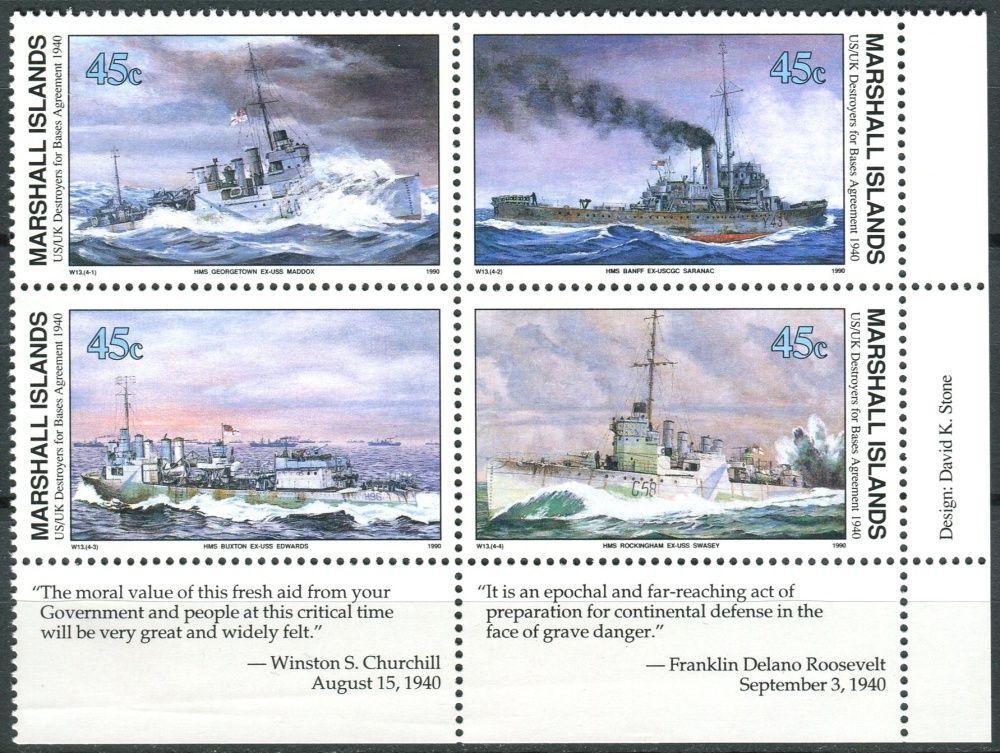 (1990) MiNr. 310 - 313 ** - Marshallovy ostrovy - 4-bl - Historie druhé světové války (XIII)