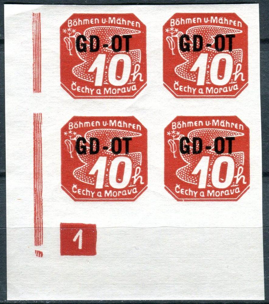 (1939) č. OT 1 ** - B. ü. M. - 4-bl -  známka pro obchodní tiskoviny - d.č. 1 - rám ukončen čtverečkem