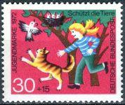(1972) MiNr. 713 ** - Německo - dobré životní podmínky zvířat - Dívka chrání ptáky před kočkou