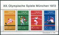 (1972) MiNr. 734 - 737 ** - Německo - BLOCK 8 - Letní olympijské hry, Mnichov (VI)