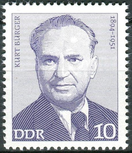 (1974) MiNr. 1916 ** - DDR - Osobnosti německého labouristického hnutí (II) - Kurt Bürger