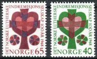 (1968) MiNr. 570 - 571 ** - Norsko - 100 let norské luteránské mise společnosti