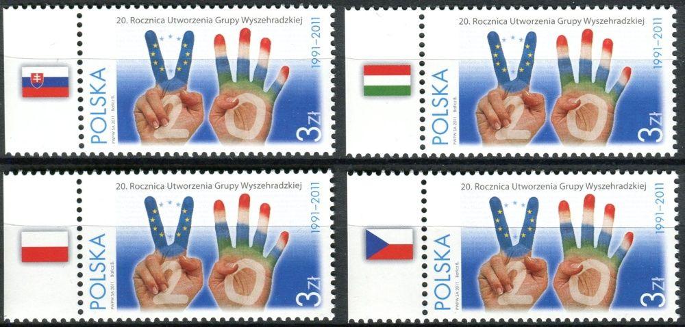 (2011) MiNr. 4507 ** - Polsko - 4 x vlajka - 20 let Visegrádské skupiny