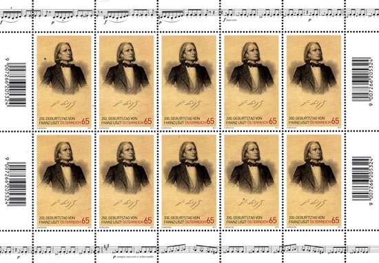 (2011) č. 2910 ** - Rakousko - PL - 200. narozeniny Franze Liszte