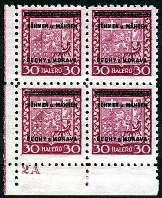 Protektorát Čechy a Morava (1939) č. 5 ** - B.u.M. - 4-bl - přetisková série