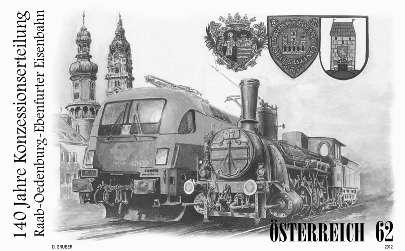 (2012) MiNr. 3032 - Rakousko - černotisk - 140. výročí udělení licencí pro výstavbu Raab-Oedenburg-Ebenfurter železnice