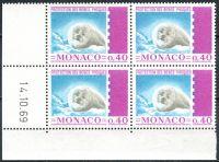 (1970) MiNr. 959 ** - Monako - 4-bl - datum tisku - Chraňte mladé tulení kožešiny