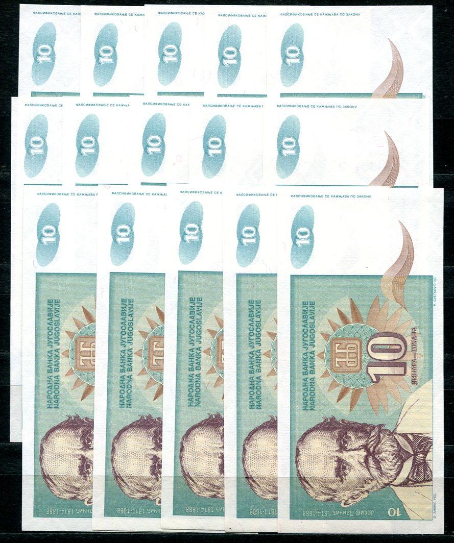 10x Jugoslávie - (P138a) 10 DINARA (1994) - UNC