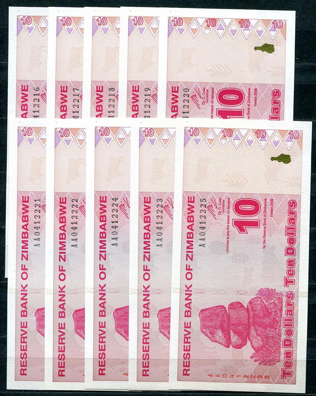 10x Zimbabwe - (P 94) 10 dollars (2009) - UNC10x Zimbabwe - (P 94) 10 dollars (2009) - UNC