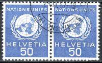 (1959) MiNr. 30 O - Švýcarsko - OSN - 2-bl - OSN Emblém