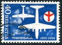 (1956) MiNr. 626 - O - Švýcarsko - 25 roků společnosti Swissair