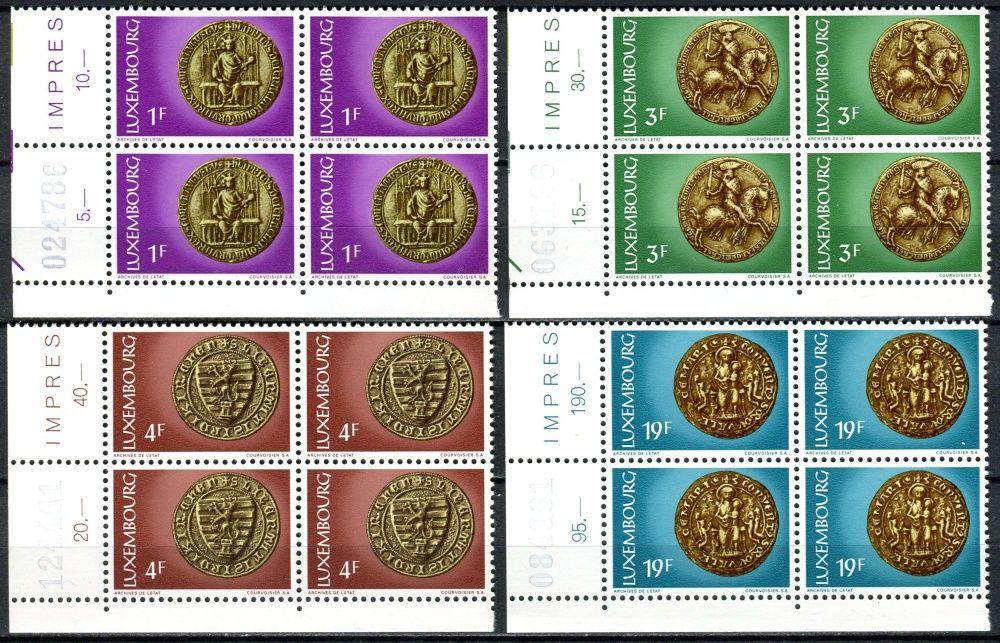 (1974) MiNr. 878 - 881 ** - Lucembursko - 4-bl - Kultura: Pečeť 13. a 14. století